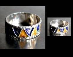 Ancien   Bague Anneau émaillée Du Maroc T58 / Old Enammelled Silver Ring From Morroco - Ethnics