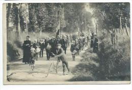 14/ CALVADOS... RARE..Carte Postale Photo De Colonie De COURVAUDON ( AUNAY Sur ODON). Fanfare, Tambour, Vélo - France