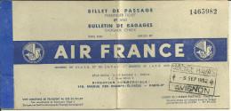AIR FRANCE BILLET DE PASSAGE 1952  AVION AVIATION 84 AVIGNON AGENCE HAVAS TRANSPORT