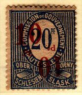 Germany Upper Silesia 10/20 Overprint Double Invert Mint Hinged * Signed - Abstimmungsgebiete
