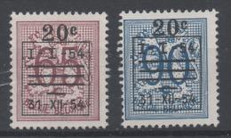Belgique 1954 - COB 941/42 - Precancels