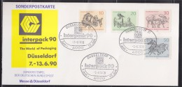 = Allemagne Carte Spéciale Interpack90 7-13.6.90 Dusseldorf 7.6.90 4 Timbres Zébre, Gaur, Pélican Et Orang-outan - [7] Repubblica Federale