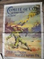 AFFICHE COMITE DE L OR  DEPARTEMENT DU RHONE 120 X 85 cm      SIGNEE  BARBIER