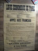 AFFICHE  LIGUE ECONOMIQUE DE PARIS  1917  ENTOILEE 123 X 85 cm