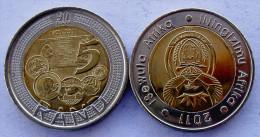 """SUD SOUTH AFRICA 5 RAND 2011 BIMETALLICA """" 90 ANNI BANCA FDC UNC - Sud Africa"""