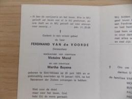 Doodsprentje Ferdinand Van De Voorde Sint Niklaas20/6/1895 - 19/1/1974 ( Victoire Morel En Martha Buyens ) - Godsdienst & Esoterisme