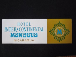 HOTEL MOTEL PENSION HOUSE INN CASA MANAGUA INTER CONTINENTAL NICARAGUA DECAL LUGGAGE LABEL ETIQUETTE KOFFERAUFKLEBER - Adesivi Di Alberghi