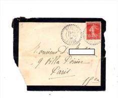Devant De  Lettre Cachet Perle Beauray Sur Semeuse Usee - Postmark Collection (Covers)