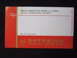 ISLAND HOTEL INN ARUBA SHERATON ANTILLES DUTCH HOLLAND NETHERLANDS DECAL STICKER LUGGAGE LABEL ETIQUETTE AUFKLEBER - Hotel Labels
