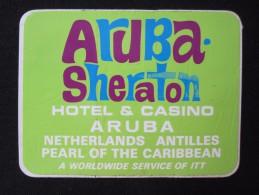 ISLAND HOTEL ARUBA CASINO SHERATON ANTILLES DUTCH HOLLAND NETHERLANDS DECAL STICKER LUGGAGE LABEL ETIQUETTE AUFKLEBER - Hotel Labels