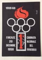 Giornata Nazionale Del Francobollo 20/21/1959 Firenze - Francobolli (rappresentazioni)