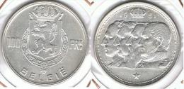 BELGICA 100 FRANCOS 1951  PLATA SILVER  MBC BELGIË - 09. 100 Francs
