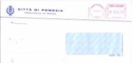COMUNE DI POMEZIA - 00040 PROV. ROMA - ANNO 2013 - LS/AMR - FTO 11x23 - TEMA TOPIC COMUNI D´ITALIA - STORIA POSTALE - Affrancature Meccaniche Rosse (EMA)