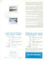 INGRESO DEL PARQUE NACIONAL LOS GLACIARES A LA LISTA DE PATRIMONIO MUNDIAL UNESCO AÑO 1984 CON MINUCIOSO MAPA