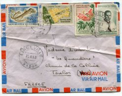 - Cover, By Air Mail, Par Avion, 4 Timbres, Dont 2 République Du Congo, Bizarre, 1963, Bon état, Scans . - Gabon