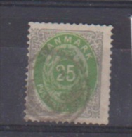 Danemark  //  N 27 B  //  25 Ore Gris Vert   //  Oblitéré  //  Côte 45 € - 1864-04 (Christian IX)