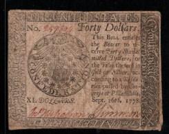 ! 1778 banknote 40 Dollars, United States, USA, Philadelphia, S184