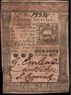 ! 1773 banknote 15 shillings, papermoney, Pensylvania, USA, S2540F