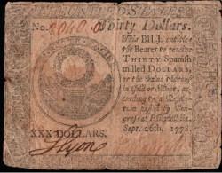 ! 1778 banknote 30 Dollars, papermoney, Philadephia, USA, S183