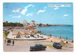 Espagne Mallorca Ciudad Jardin Voiture Peugeot Ane Vue Panoramique Plage Playa + 2 Timbres Cachet 1971 - Palma De Mallorca