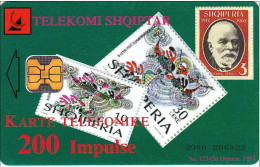 Y] 2 Télécartes 2 Phonecards Albanie Albania Phone Téléphone Timbres Stamps Bleue Blue Vert Green - Albanië
