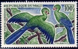BIRDS-GUINEA TOURACOS-MALI-1965-MLH-A6-487 - Cuckoos & Turacos