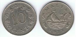 MALTA 10 CENTS 1972 MBC+ - India