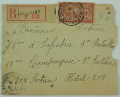 Enveloppe Recommandé 1918 Affr. 40c Merson YT 119 Marseille --> SP 208, Distr. Bureau Central  Militaire BCM Annexe Cons - Briefe U. Dokumente