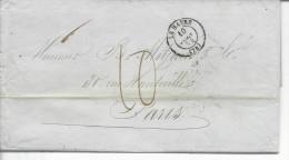 LAC Port Dû >Paris T.à.d.T15E Taxe Manuscrite 10 Decimes (+de 15g (fin Du Tarif 1.07.1854) Vve Laborda & Cie - Postmark Collection (Covers)