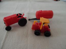 Kinder Ancien :  Lot De  2 Véhicules : Tracteur Et Angin De Chantier , Traktoren Mit  Anhänger  Et - Mountables