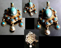 Très Beau Pendentif Impérial à Pampilles / Old Hungarian Gold-platted Silver, Turquoise And Pearl Pendent - Rings