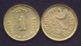Pakistan 1966 Very Rare 1 Paisa Proof Metal Nickel Brass Coin KM#24a - Pakistan