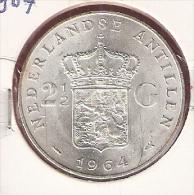 NED.ANTILLEN 2 1/2 GULDEN 1964 ZILVER UNC - Antilles Neérlandaises