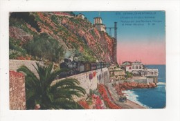 Carte Postale GRIMALDI VINTIMIGLIA RESTAURANT DES ROCHERS ROUGES ET HOTEL MIRAMAR Train Vapeur Locomotive ETAT PASSABLE - Italy