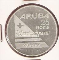ARUBA 25 FLORIN 1991 ZILVER UNCIRCULATED STATUS APARTE - Aruba