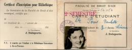 Aix En Provence Carte étudiant Faculté De Droit 1950 - Documents Historiques