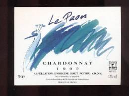 Etiquette De Vin Haut Poitou Chardonnay  1992 -  Le Paon - Neuville Du Poitou  (86)  -  Thème Oiseau - Sin Clasificación