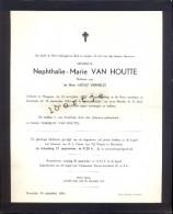 Doodsbrief Devotie Nephthalie Marie Van Houtte - Wingene 1880 - Ruiselede 1964 - Overlijden
