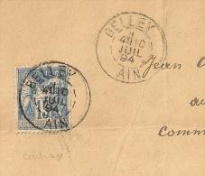 SAGE 15c Centrage Parfait, BELLEY Ain Sur Enveloppe. - 1876-1898 Sage (Tipo II)