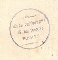 PARIS, 15 Rue Santerre, HOPITAL Auxiliaire N°1 Sur Carte Lettre. - Oorlog 1914-18