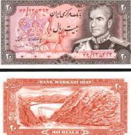 Iran #100a2, 20 Rials, ND (1974-79), UNC / NEUF - Iran