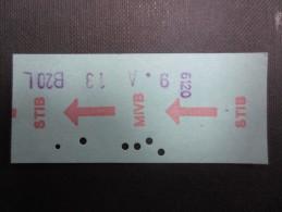 TICKET TRAM MIVB - STIB (M1515) Ticket de M�tro? (2 vues) not� sur ligne 20 1977