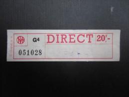 TICKET TRAM MIVB - STIB (M1515) Direct 20f (2 vues) Not� avril 1979