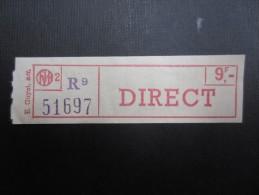 TICKET TRAM MIVB - STIB (M1515) Direct 9f (2 vues) Not� 25/10/1974