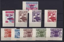 CROATIE KROATIEN CROAZIA HRVATSKA UPU LOT 10 VIGNETTES LOCOMOTIVE BUS BATEAU AVION 1949 - Croazia