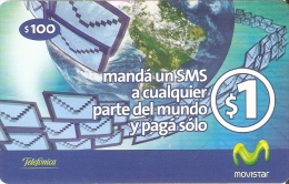 TARJETA DE URUGUAY  DE MOVISTAR DE $100 MANDA UN SMS - Uruguay