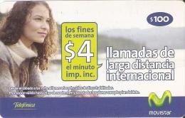 TARJETA DE URUGUAY  DE MOVISTAR DE $100 LAMADAS LARGA DISTANCIA - Uruguay