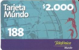 TARJETA DE CHILE DE MOVISTAR DE $2000 DE UN CABALLITO DE MAR (SEAHORSE) - Chile