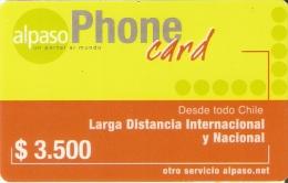 TARJETA DE CHILE DE ALPASO DE $3500 - Chile