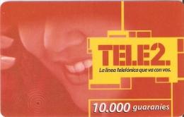 TARJETA DE PARAGUAY DE TELE 2 DE10000 GUARANIES